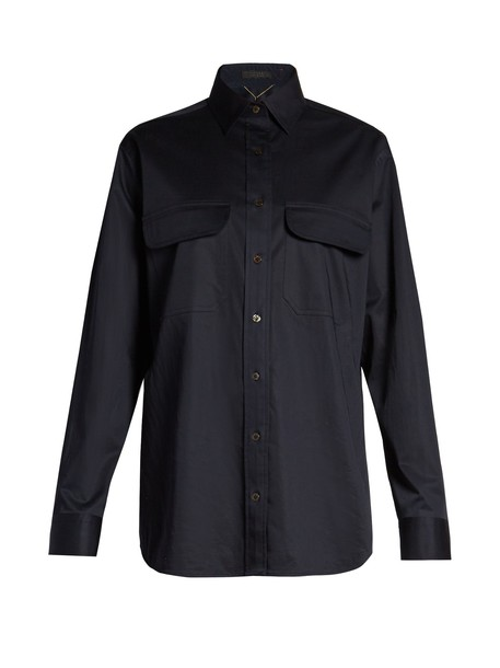The Row shirt cotton navy top