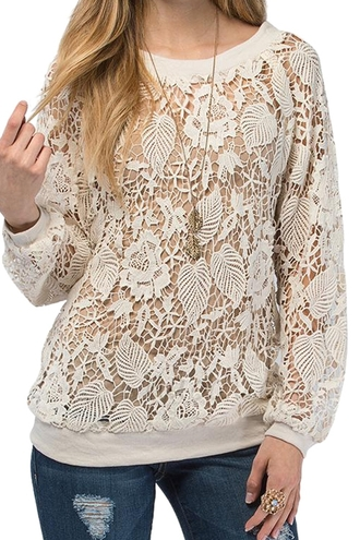 sweater lace lace top cream crochet zaful beautiful