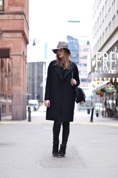 moderosa blogger black coat fedora high top sneakers hat coat pants shoes bag jewels