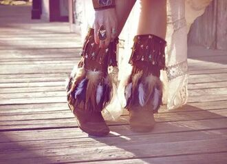 indian boots boho feathers