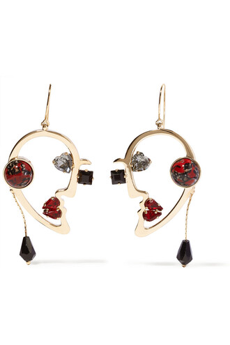 earrings gold red jewels