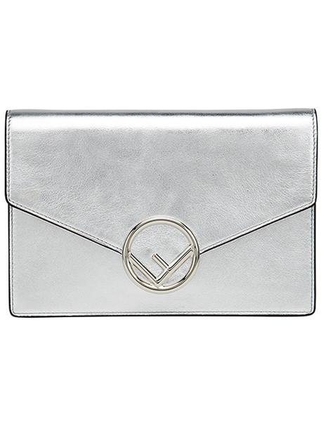 Fendi women purse leather cotton grey metallic bag
