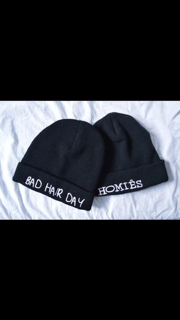 hat homies bad hair day hat black benies