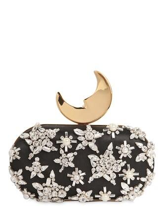 moon embellished clutch silk black bag