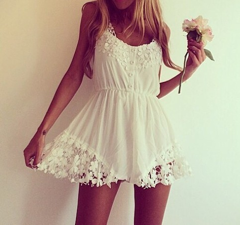 Outletpad | White Decorative Flower Playsuit White  | Online Store Powered by Storenvy