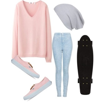 sweater hat jeans shoes skater pastel pink back to school