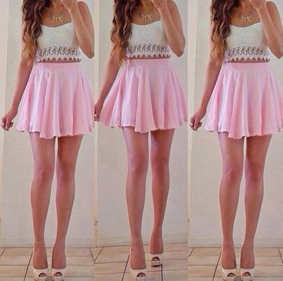 skirt pink skirt pink pink skirt and white top blouse shoes baby pink baby pink skirt jeans dress pink white cool summer pretty dress happy pink dress short dress tumblr
