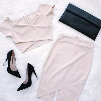 top skirt matching set black heels heels outfit outfit idea date outfit gojane