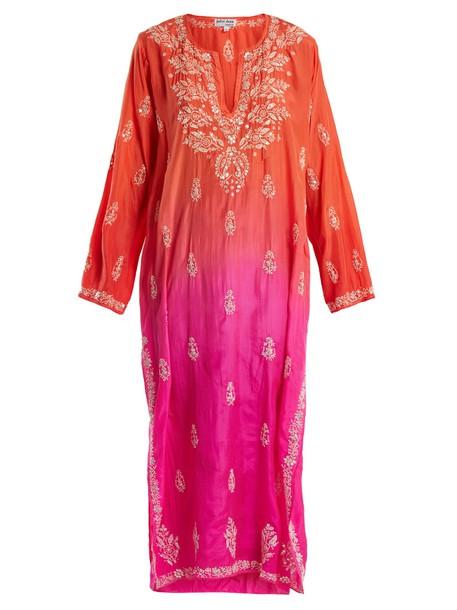 Juliet Dunn embroidered floral silk pink top