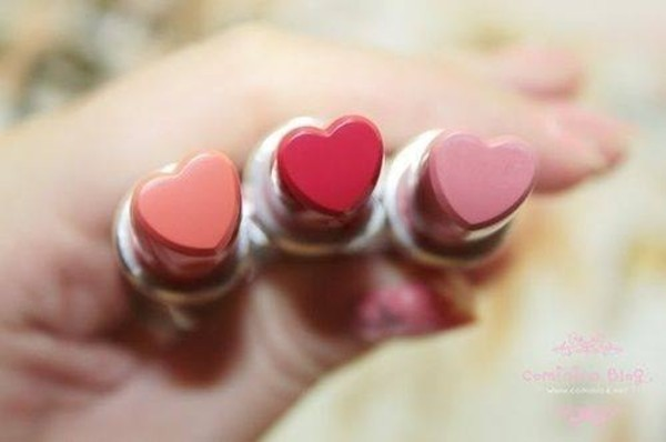 jewels lipstick heart shaped heart red pink coral cute make-up