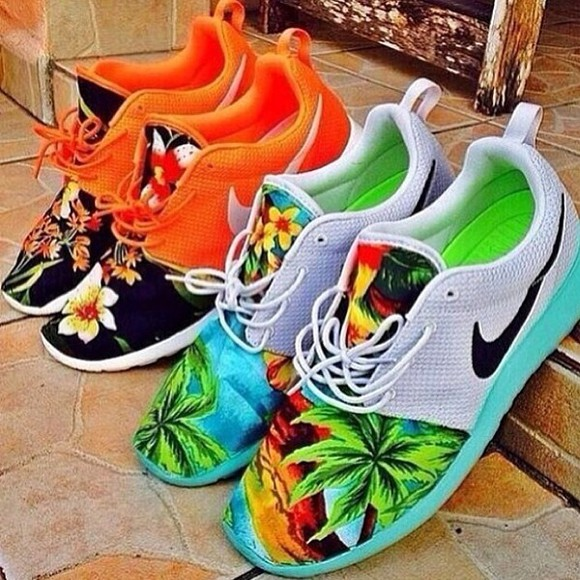 shoes orange shoes nike floral hawaiian print