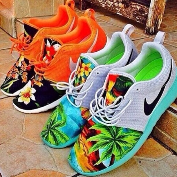 ... shoes nike floral hawaiian orange shoes sneakers nike roshes floral  nike roshe run blue orange nike ...