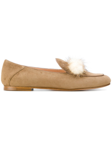 Unützer women loafers leather suede brown shoes