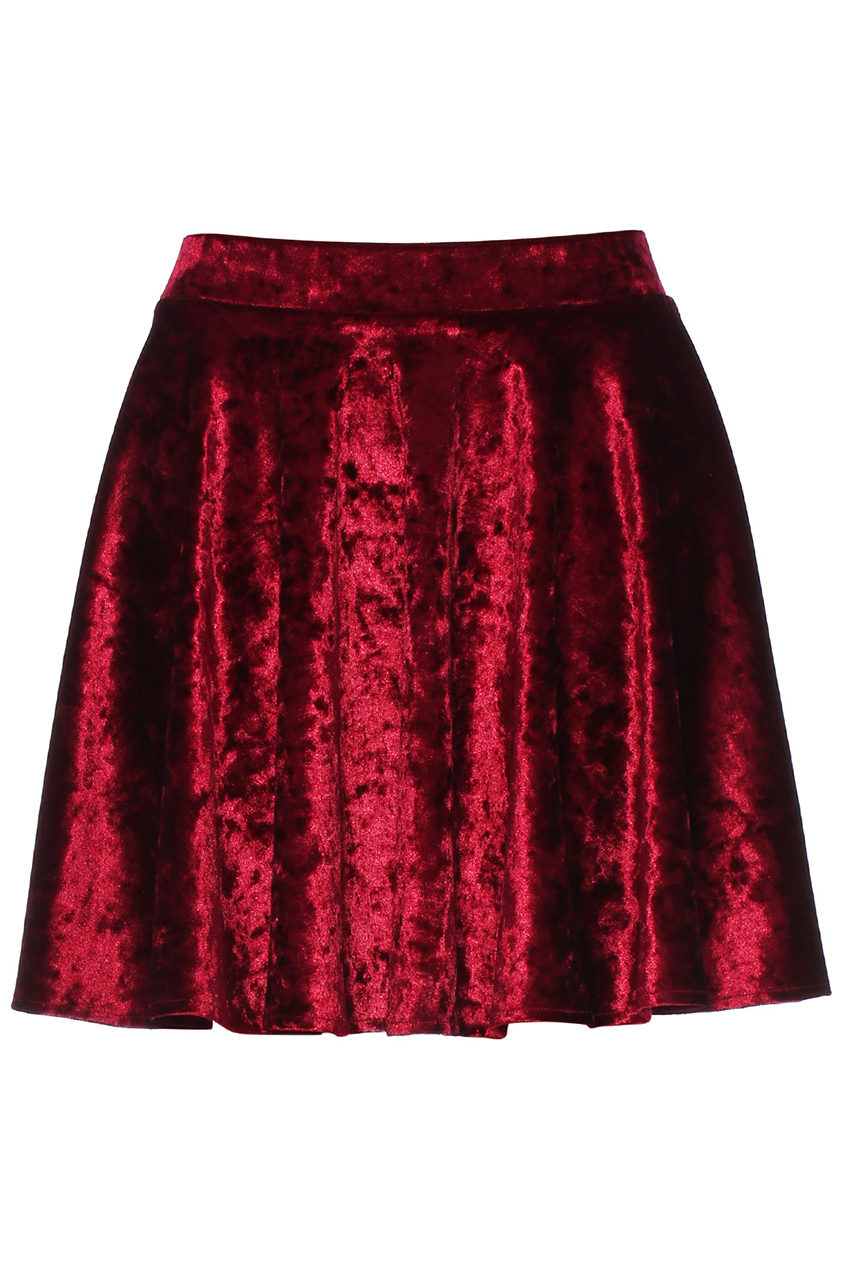 ROMWE | ROMWE Velvet Red Skirt, The Latest Street Fashion