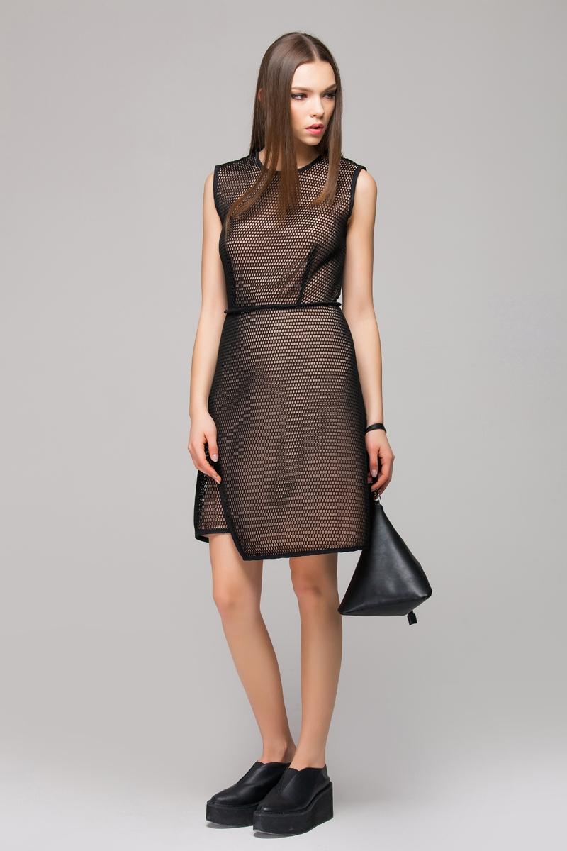Mesh dress with asymmetric hem