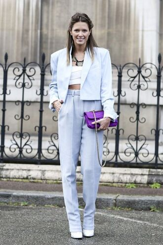 pants lilac clutch power suit baby blue light blue high waisted pants blue pants blazer blue blazer shoes white shoes spring outfits streetstyle helena bordon top white top white crop tops crop tops clutch two piece pantsuits matching set