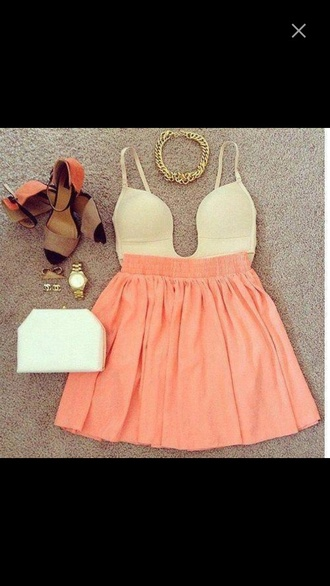 blouse coral skirt white bodysuit summer outfits necklace gold chain necklace shoes white purse skirt