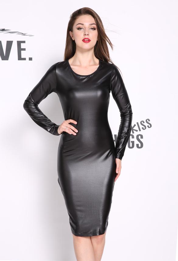 Lethalbeauty ? long sleeve leather midi bodycon dress