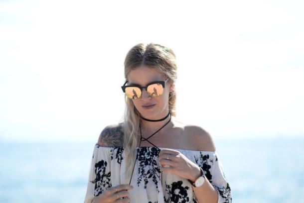 blonde bedhead blogger top sunglasses
