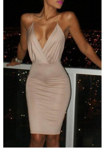 dress sexy fashion nude beige hot trendy cleavage style midi dress rose wholesale-jan beige dress tan v neck v neck dress slinky material