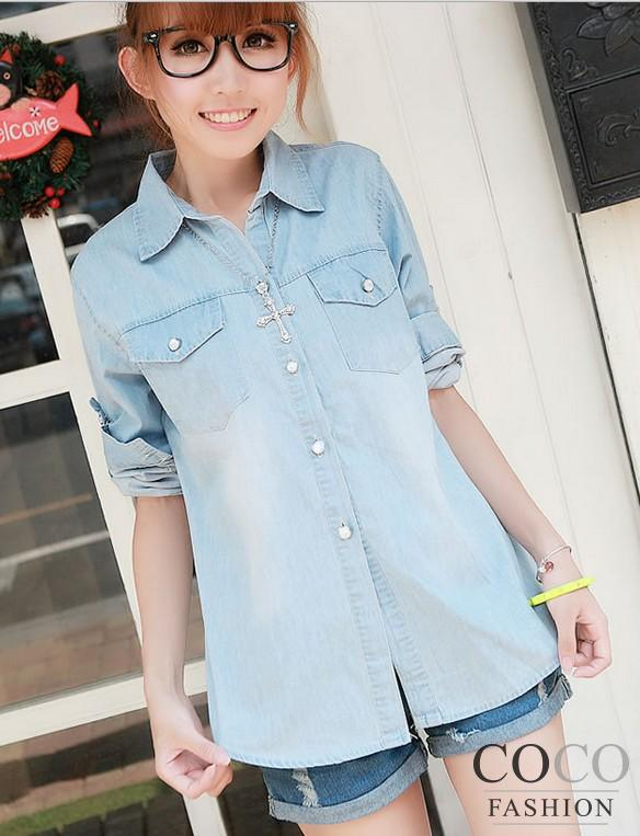 Light-blue Denim Shirt with Shirttail and Contrast Stitched Details
