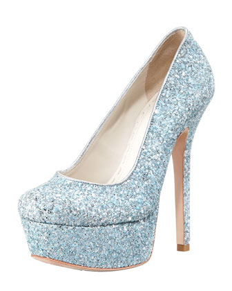 Alice   Olivia Larimore Glitter Platform Pump, Silver/Blue - Bergdorf Goodman