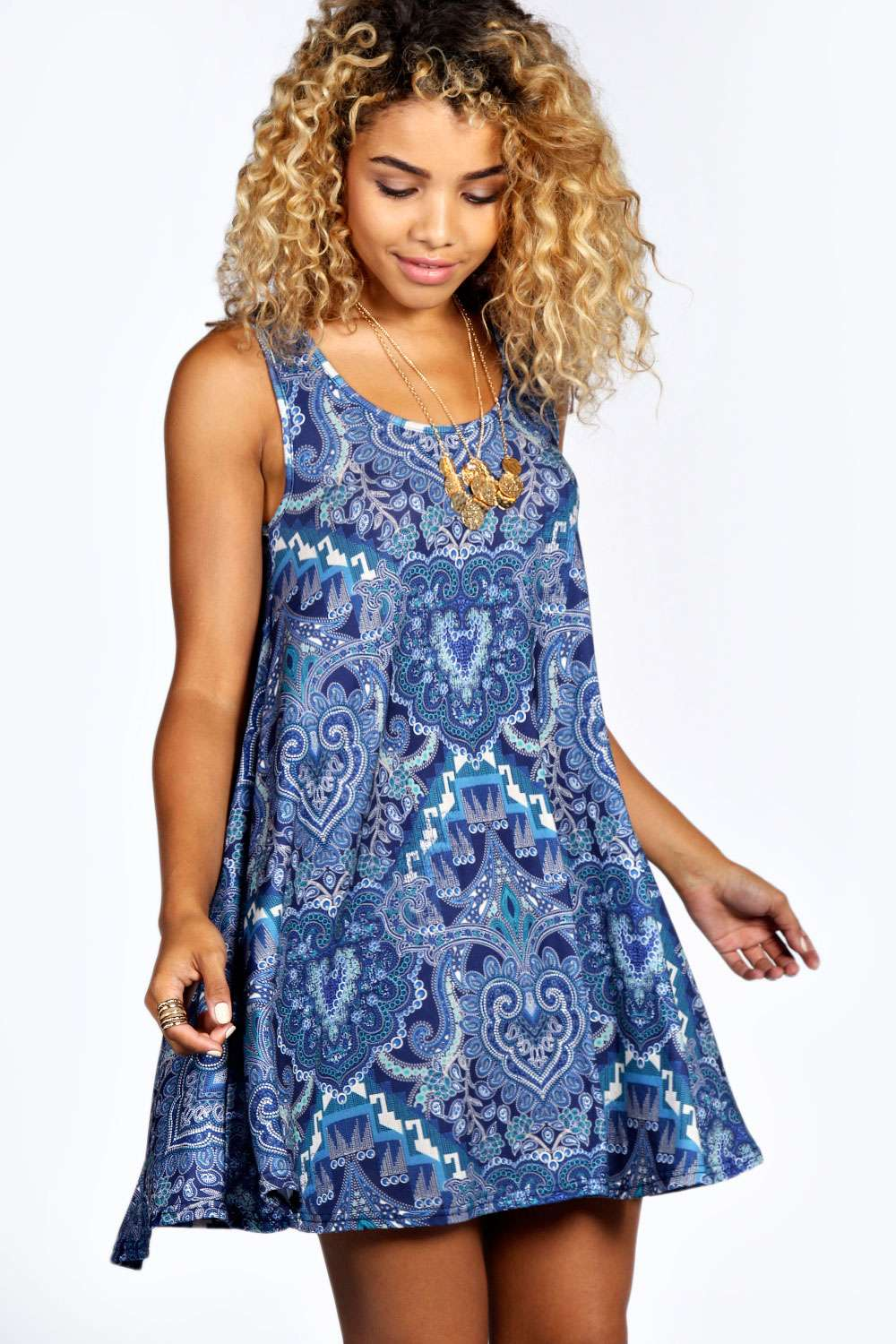 Summer Aztec Print Swing Dress
