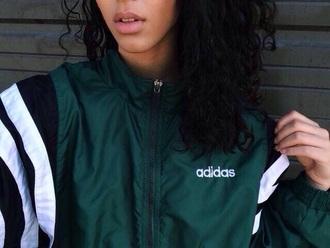 jacket sweater adidas green dark green green jacket black white vintage