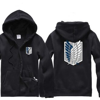 sweater hoodie sweatshirt wings zip-up black