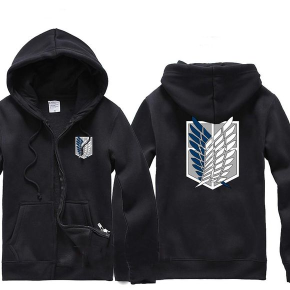 zip-up black hoodie sweater sweatshirt wings