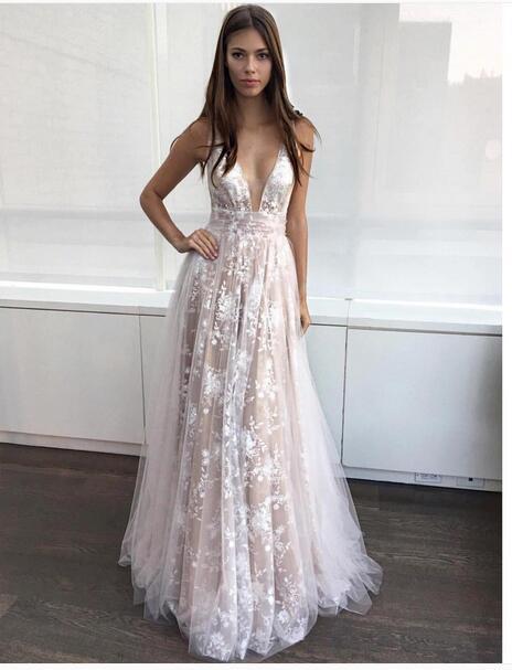 12ed3144180 Aliexpress.com   Buy Beautiful Prom Dress Cheap V neck Spaghetti Strap  Floor length Sexy White Prom Dresses 2017 Lace ...
