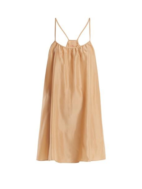dress slip dress classic silk satin nude