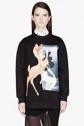 Givenchy Black Neoprene Baby Deer Print Sweatshirt for women | SSENSE