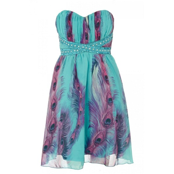 Aqua And Purple Chiffon Feather Print Dress - Quiz - Polyvore