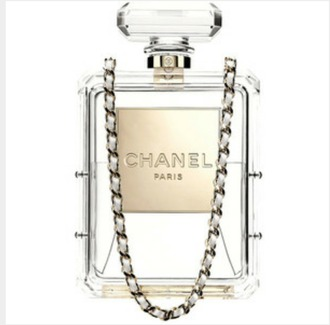 bag chanel clear gold gold chain