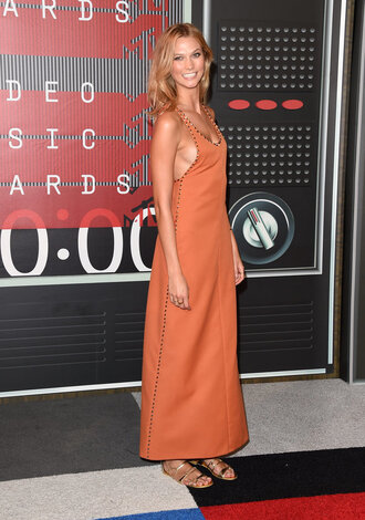 dress maxi dress sandals karlie kloss vma orange dress orange