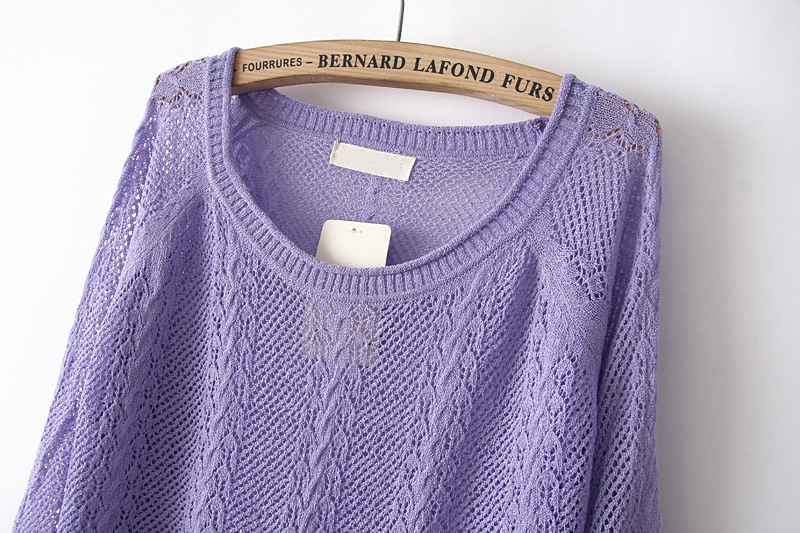 Purple Long Sleeve Hollow Pullover Sweater - Sheinside.com