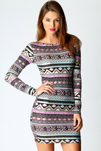 dress bodycon dress bodycon aztec aztec dress short dress long-sleeves