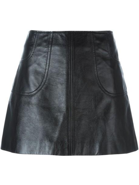 skirt mini women black silk