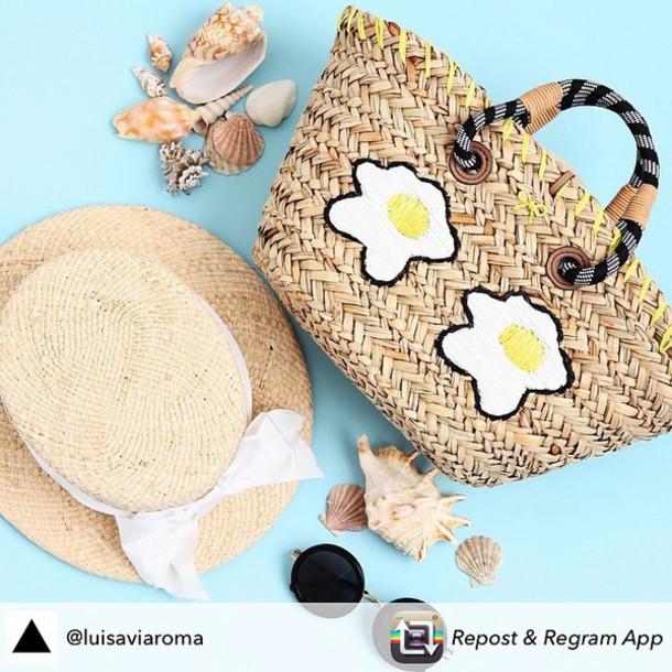 bag anya hindmarch luxury egg egg summer summer outfits straw hat sunglasses beach sun hat beach babe sea