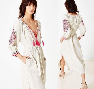 dress white dress boho tunic dress embroidered folk