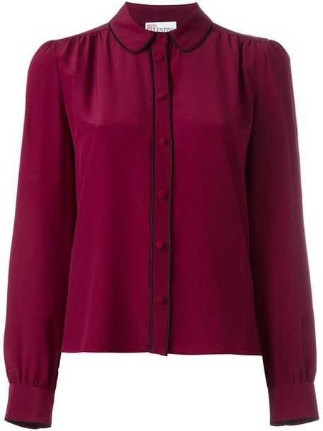 shirt collar shirt women silk purple pink top