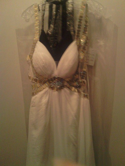 dress white golden promdress