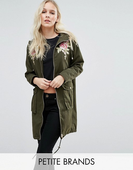 New Look Petite Embroidered Parka Jacket at