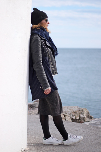 jane's sneak peak blogger jacket sweater top skirt hat scarf bag