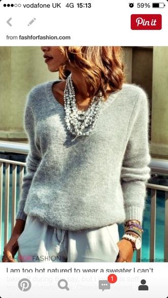 sweater soft v neck grey sweater