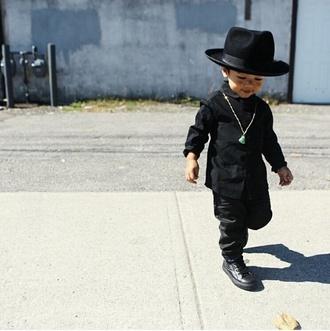 guys kids fashion fashion kids swag fashion pants leather jacket leather pants hat fedora baby clothing