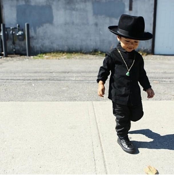 guys pants leather jacket leather pants hat fedora swag fashion kids  fashion kids fashion baby clothing a170840ec163