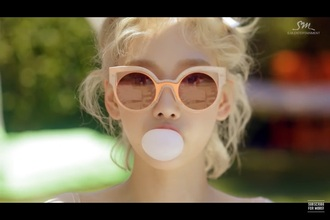 sunglasses round sunglasses pink orange cat eye white gold cute summer mirrored sunglasses bech sexy k-pop taeyeon the blonde salad blonde hair curly hair asian asian fashion