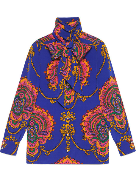 gucci shirt women print blue silk top